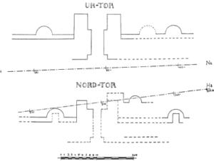 Fig. 1. Porte-passage (ici portes d'Uruk, IIIe mill. av. J.-C. d'après Lenzen 1936, fig. 1)