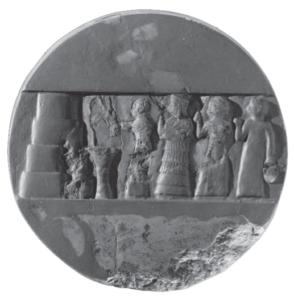 Disque d'Enheduanna, découvert à Ur, dans le Giparu