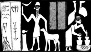 Empreinte du sceau de Tuli, cuisinier à la cour d'Urkish (actuellement Tell Mozan)