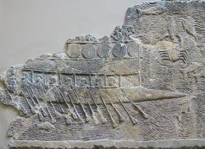 Bateau phénicien représenté dans un bas-relief néo-assyrien, Ninive, Palais de Sennachérib.