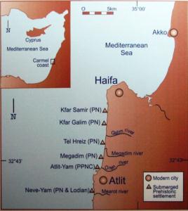 Carte des sites pré-historiques autour du Carmel (© Hanay, CC-BY-SA 3.0)