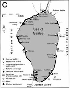Sites autour de la Mer de Galilée (d'après E. Galili et S. Arenson, 2014, fig. 11)