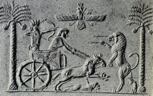 Sceau cylindre du roi Darius, chasse avec le char (Porada 1948)