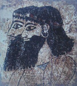 Fragment de peinture retrouvée à Til Barsip, Ier mill. BC