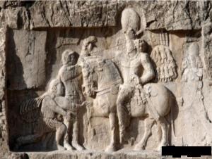 Triomphe de Châpour Ier sur l'empereur romain Valérien. Bas relief de Bichâpour, Iran