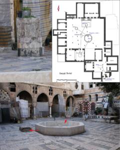 Figure 3: La maison al-Saqqā 'Amīnī: plan indiquant le mouvement de l'eau à l'intérieur de la maison (© I. Fayyad)