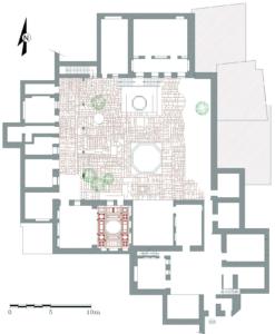 Figure 1: La demeure al-Saqqā 'Amīnī: plan du rez-de-chaussée et du dallage de la cour (© I Fayyad)