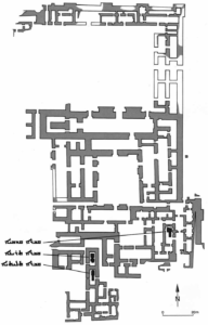 Palais nord-ouest de Nimrud, avec localisation des tombes (depuis Hussein, Altaweel et Gibson 2016)